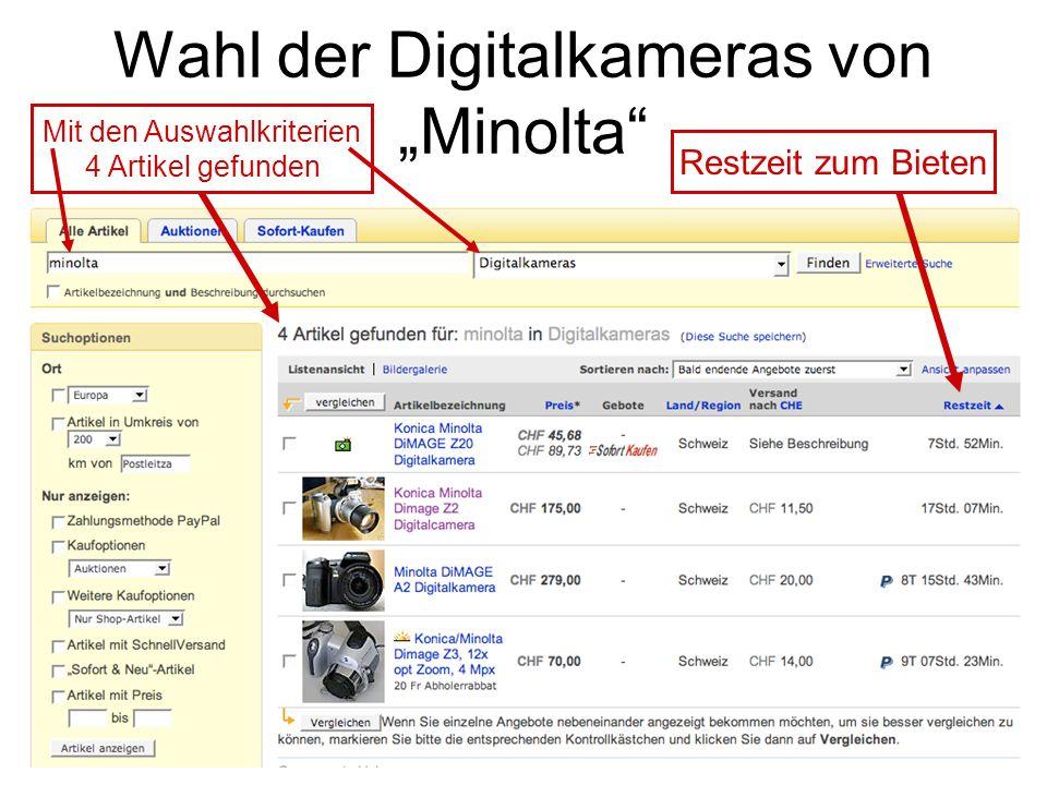 Wahl der Digitalkameras von Minolta Restzeit zum Bieten Mit den Auswahlkriterien 4 Artikel gefunden