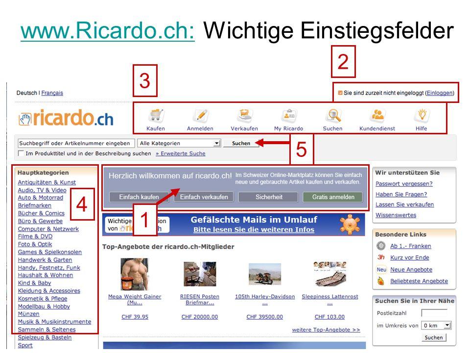 www.Ricardo.ch:www.Ricardo.ch: Wichtige Einstiegsfelder 1 3 2 4 5