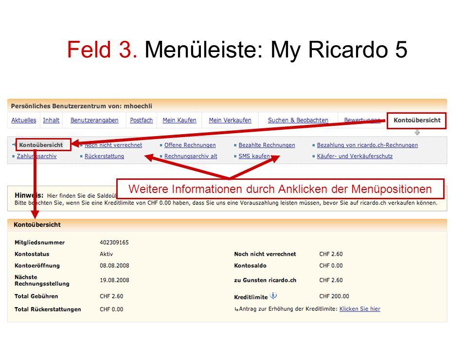 Feld 3. Menüleiste: My Ricardo 5 Weitere Informationen durch Anklicken der Menüpositionen
