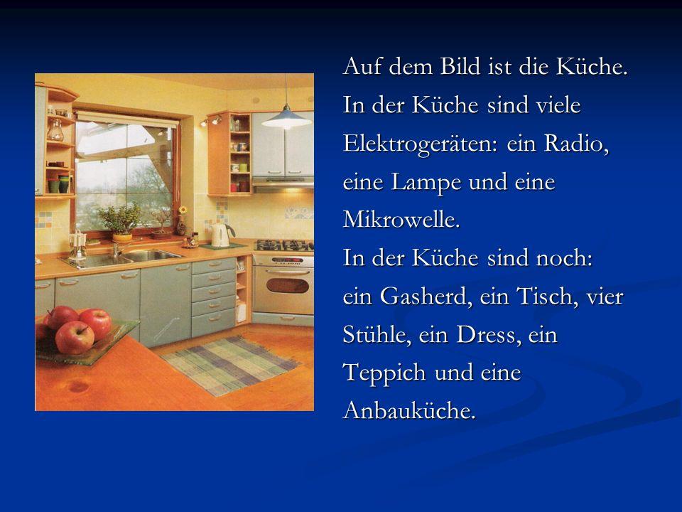 Auf dem Bild ist die Küche. In der Küche sind viele Elektrogeräten: ein Radio, eine Lampe und eine Mikrowelle. In der Küche sind noch: ein Gasherd, ei