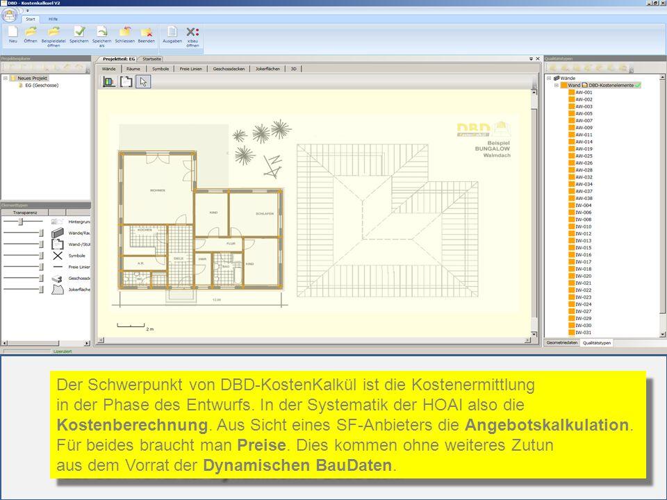 Der Schwerpunkt von DBD-KostenKalkül ist die Kostenermittlung in der Phase des Entwurfs. In der Systematik der HOAI also die Kostenberechnung. Aus Sic