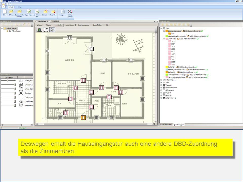 Deswegen erhält die Hauseingangstür auch eine andere DBD-Zuordnung als die Zimmertüren. Deswegen erhält die Hauseingangstür auch eine andere DBD-Zuord