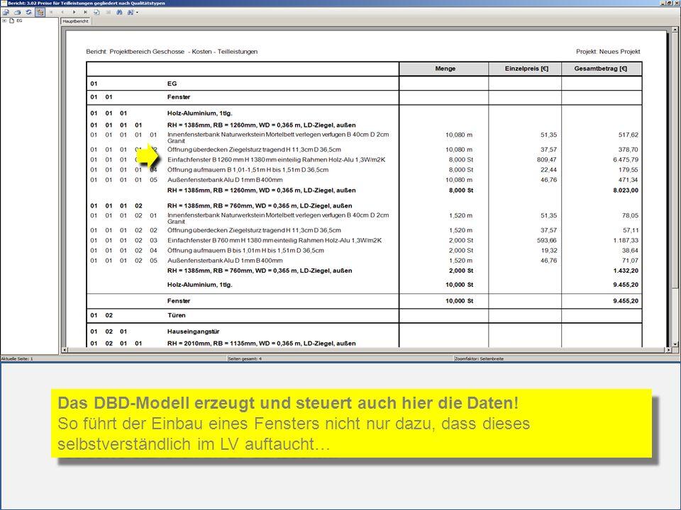 Das DBD-Modell erzeugt und steuert auch hier die Daten! So führt der Einbau eines Fensters nicht nur dazu, dass dieses selbstverständlich im LV auftau