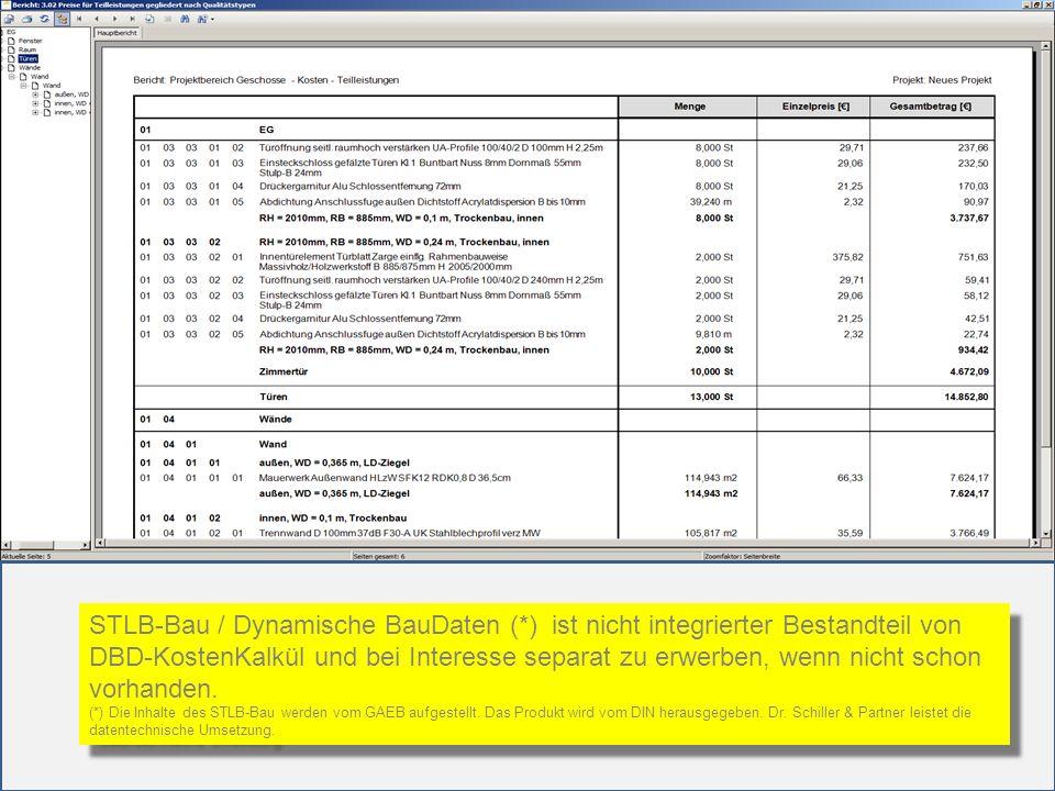 STLB-Bau / Dynamische BauDaten (*) ist nicht integrierter Bestandteil von DBD-KostenKalkül und bei Interesse separat zu erwerben, wenn nicht schon vor