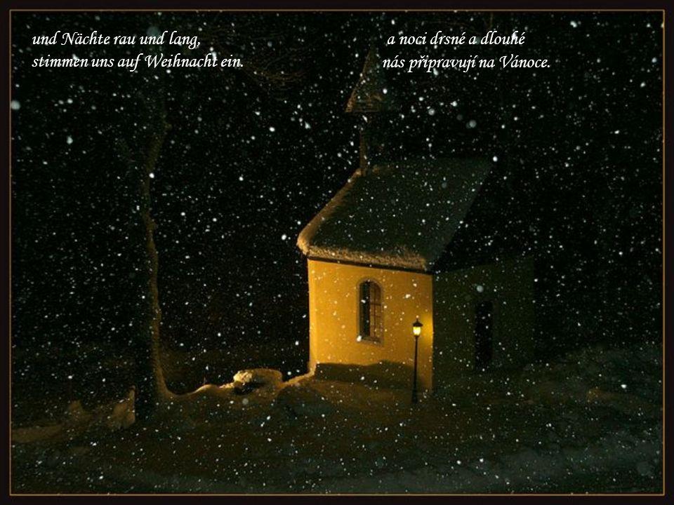 Und wenn es draußen leise schneit, sind Wald und Flur in weißen Kleid A když venku tiše sněží, je les a pole v bílých šatech