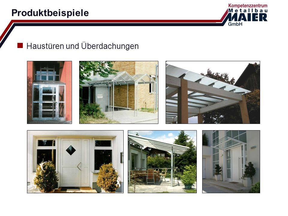 Produktbeispiele Haustüren und Überdachungen