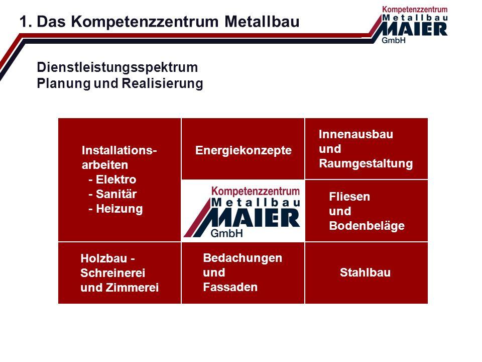 Dienstleistungsspektrum Planung und Realisierung 1. Das Kompetenzzentrum Metallbau Energiekonzepte Innenausbau und Raumgestaltung Fliesen und Bodenbel
