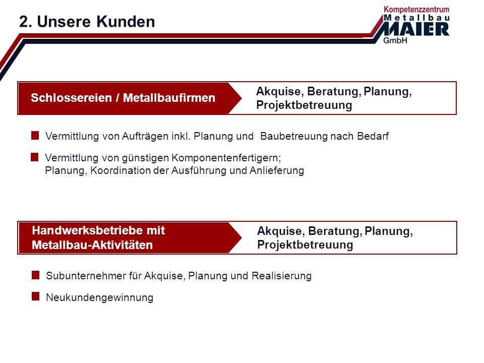 2. Unsere Kunden Akquise, Beratung, Planung, Projektbetreuung Schlossereien / Metallbaufirmen Vermittlung von Aufträgen inkl. Planung und Baubetreuung