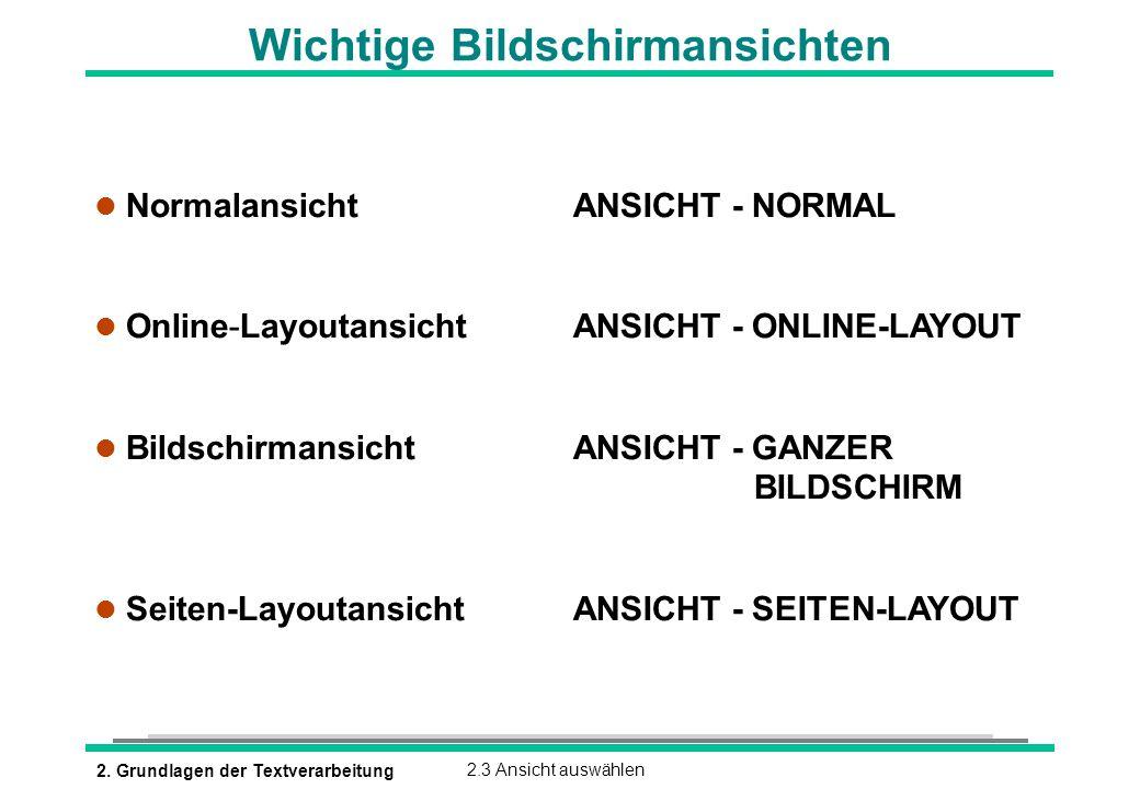 2. Grundlagen der Textverarbeitung2.3 Ansicht auswählen Wichtige Bildschirmansichten l Normalansicht ANSICHT - NORMAL l Online-Layoutansicht ANSICHT -