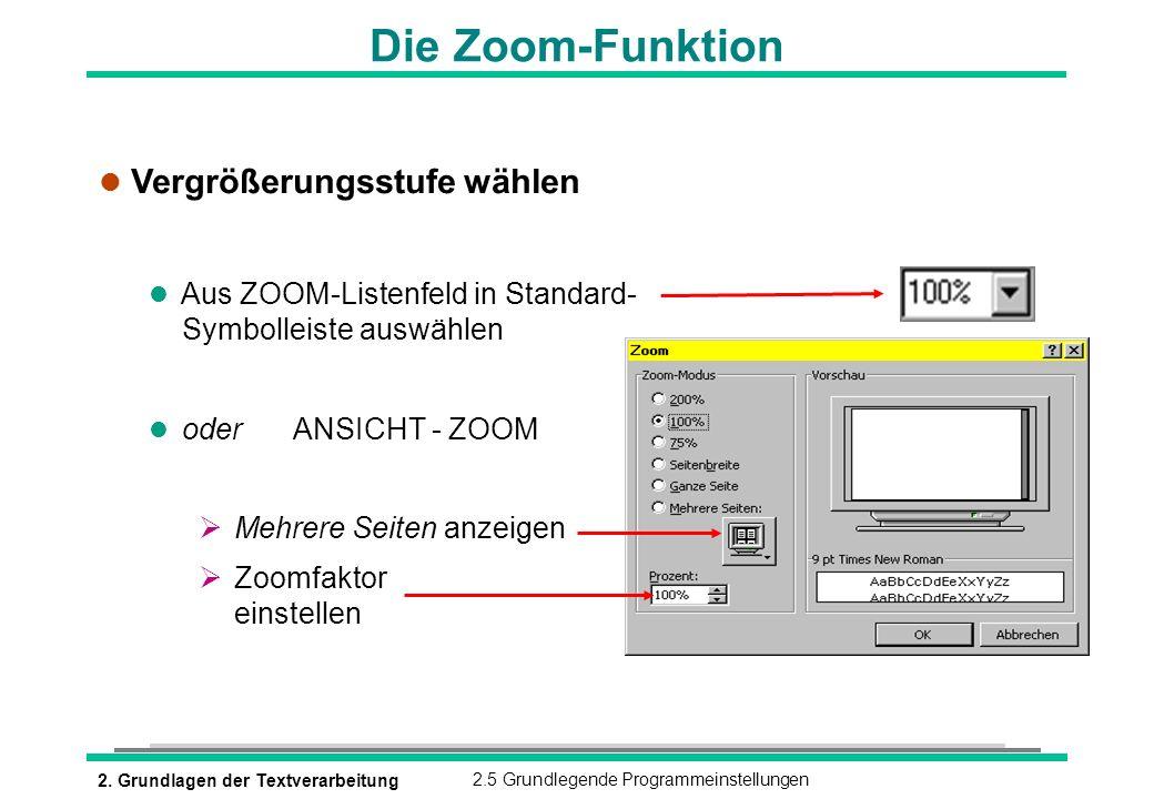 2. Grundlagen der Textverarbeitung2.5 Grundlegende Programmeinstellungen Die Zoom-Funktion l Vergrößerungsstufe wählen l Aus ZOOM-Listenfeld in Standa