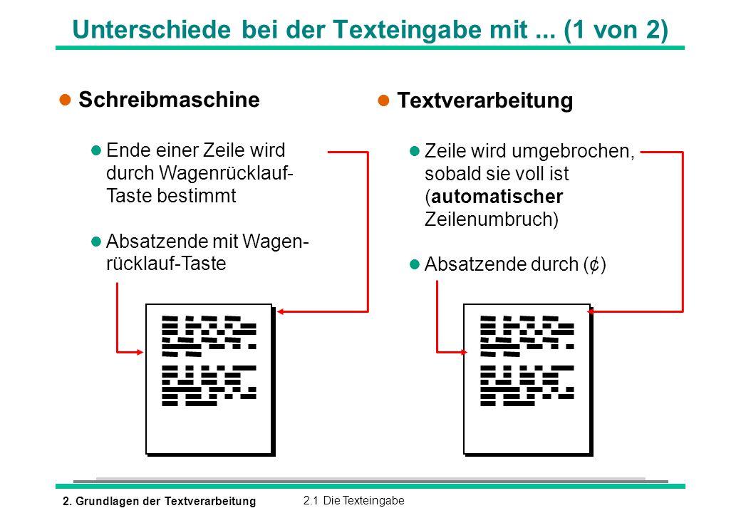 2. Grundlagen der Textverarbeitung2.1 Die Texteingabe Unterschiede bei der Texteingabe mit... (1 von 2) l Schreibmaschine l Ende einer Zeile wird durc