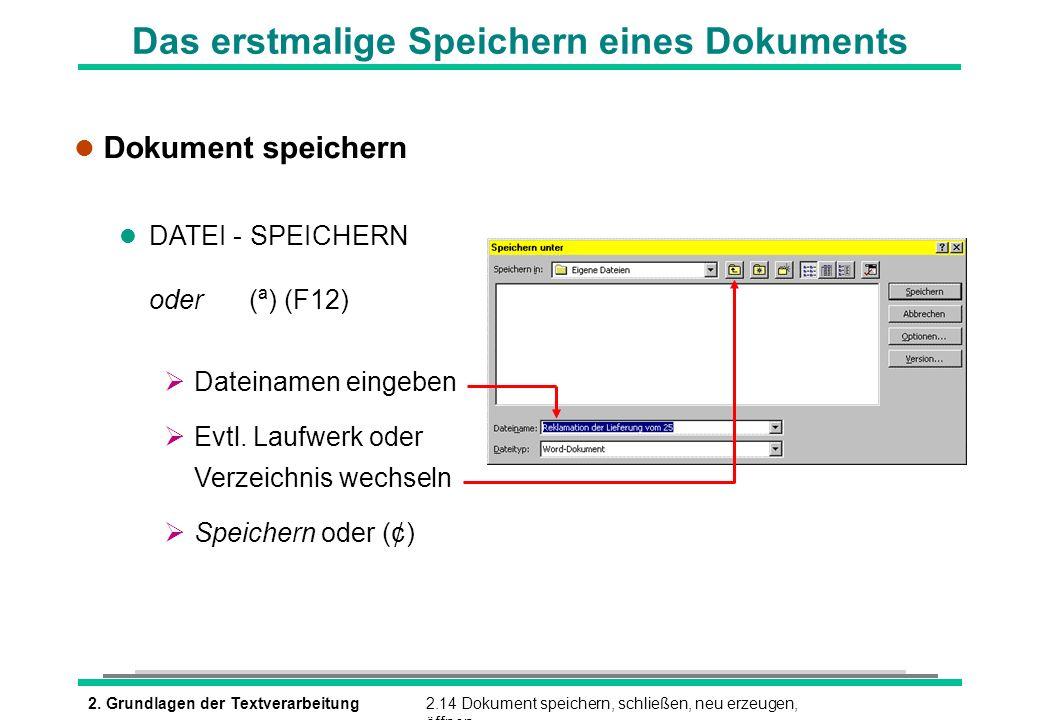 2. Grundlagen der Textverarbeitung2.14 Dokument speichern, schließen, neu erzeugen, öffnen Das erstmalige Speichern eines Dokuments l Dokument speiche