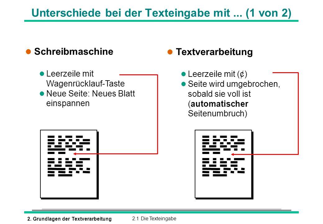 2. Grundlagen der Textverarbeitung2.1 Die Texteingabe Unterschiede bei der Texteingabe mit... (1 von 2) l Schreibmaschine l Leerzeile mit Wagenrücklau