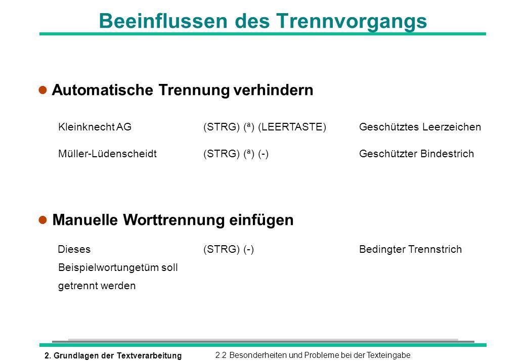 2. Grundlagen der Textverarbeitung2.2 Besonderheiten und Probleme bei der Texteingabe l Automatische Trennung verhindern l Manuelle Worttrennung einfü
