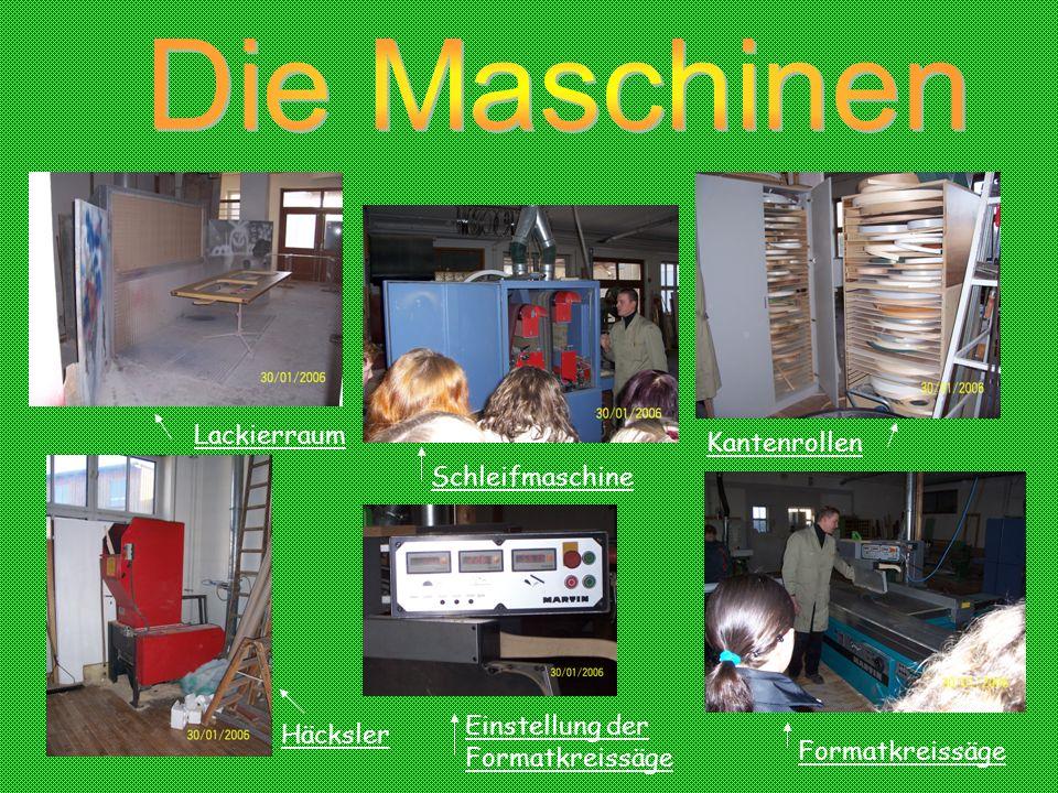Lackierraum Schleifmaschine Häcksler Einstellung der Formatkreissäge Formatkreissäge Kantenrollen