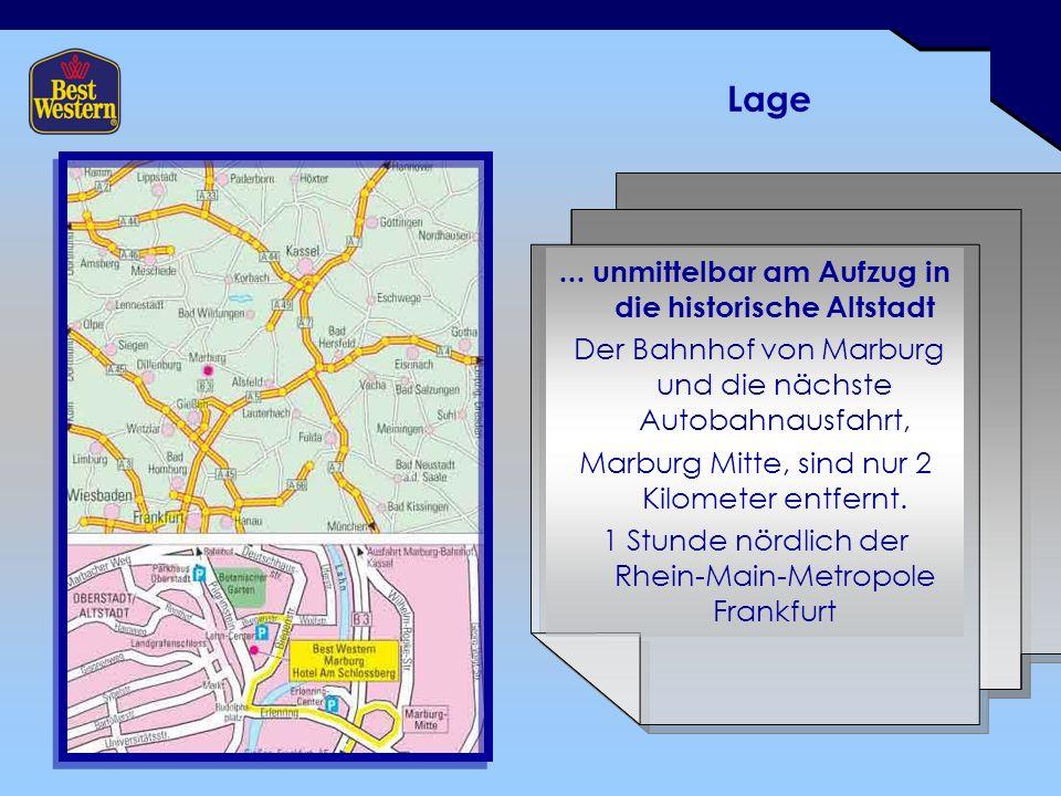 Lage... unmittelbar am Aufzug in die historische Altstadt Der Bahnhof von Marburg und die nächste Autobahnausfahrt, Marburg Mitte, sind nur 2 Kilomete