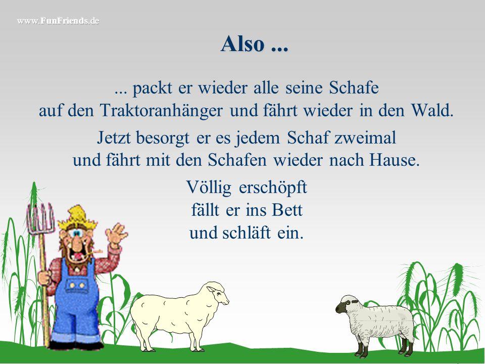 Am nächsten Morgen...... schaut er aus dem Fenster, sieht, dass alle Schafe einzeln auf der Wiese stehen und verzweifelt.
