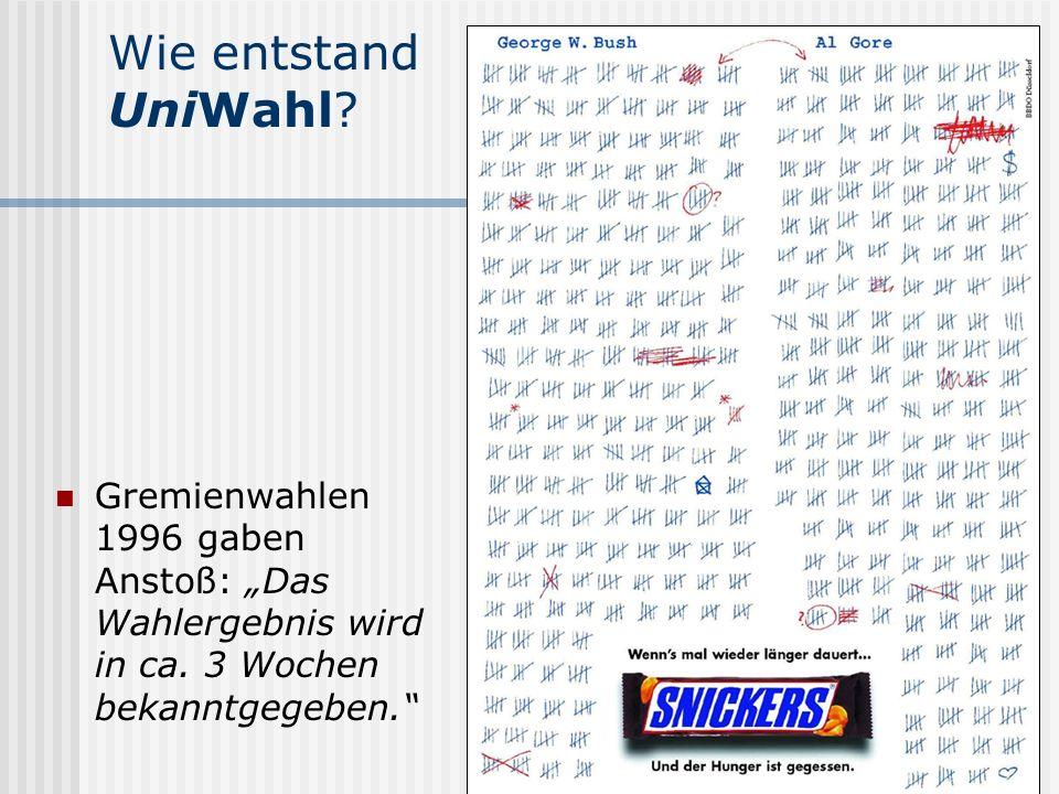 www.UniWahl-soft.de Wie entstand UniWahl? Gremienwahlen 1996 gaben Anstoß: Das Wahlergebnis wird in ca. 3 Wochen bekanntgegeben.