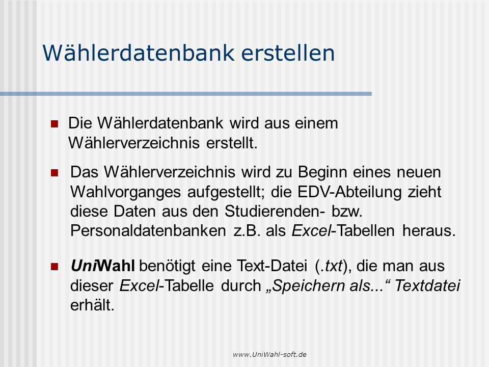 www.UniWahl-soft.de Wählerdatenbank erstellen Die Wählerdatenbank wird aus einem Wählerverzeichnis erstellt. UniWahl benötigt eine Text-Datei (.txt),