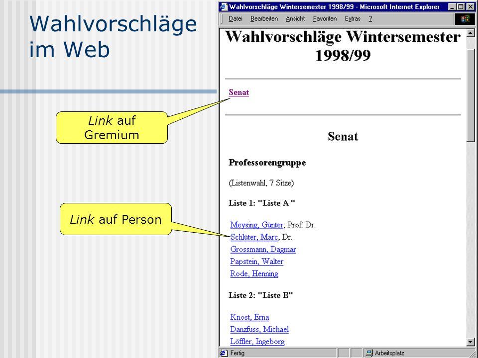 www.UniWahl-soft.de Wahlvorschläge im Web Link auf Person Link auf Gremium