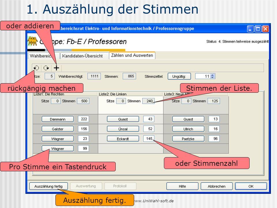 www.UniWahl-soft.de 1. Auszählung der Stimmen Pro Stimme ein Tastendruck oder Stimmenzahl rückgängig machen oder addieren Stimmen der Liste. Auszählun