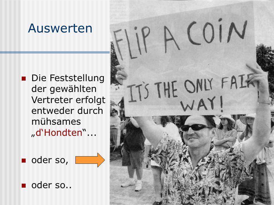 www.UniWahl-soft.de Auswerten Die Feststellung der gewählten Vertreter erfolgt entweder durch mühsamesdHondten... oder so.. oder so,