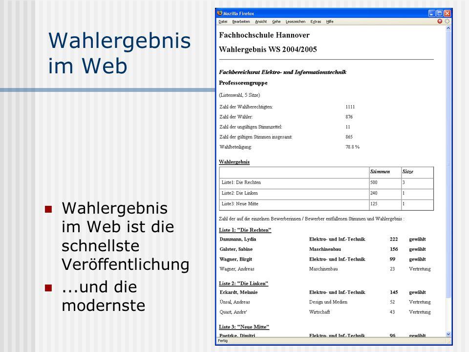 www.UniWahl-soft.de Wahlergebnis im Web Wahlergebnis im Web ist die schnellste Veröffentlichung...und die modernste