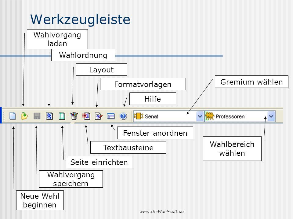 www.UniWahl-soft.de Werkzeugleiste Neue Wahl beginnen Wahlvorgang laden Wahlvorgang speichern Wahlordnung Seite einrichten Layout Textbausteine Format