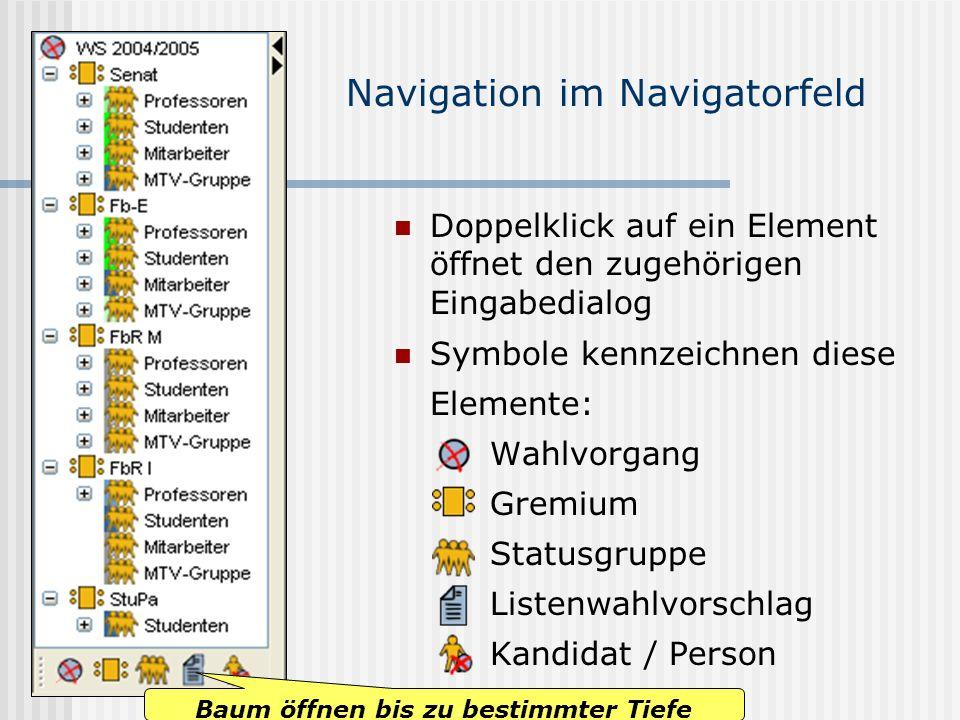 www.UniWahl-soft.de Navigation im Navigatorfeld Doppelklick auf ein Element öffnet den zugehörigen Eingabedialog Symbole kennzeichnen diese Elemente: