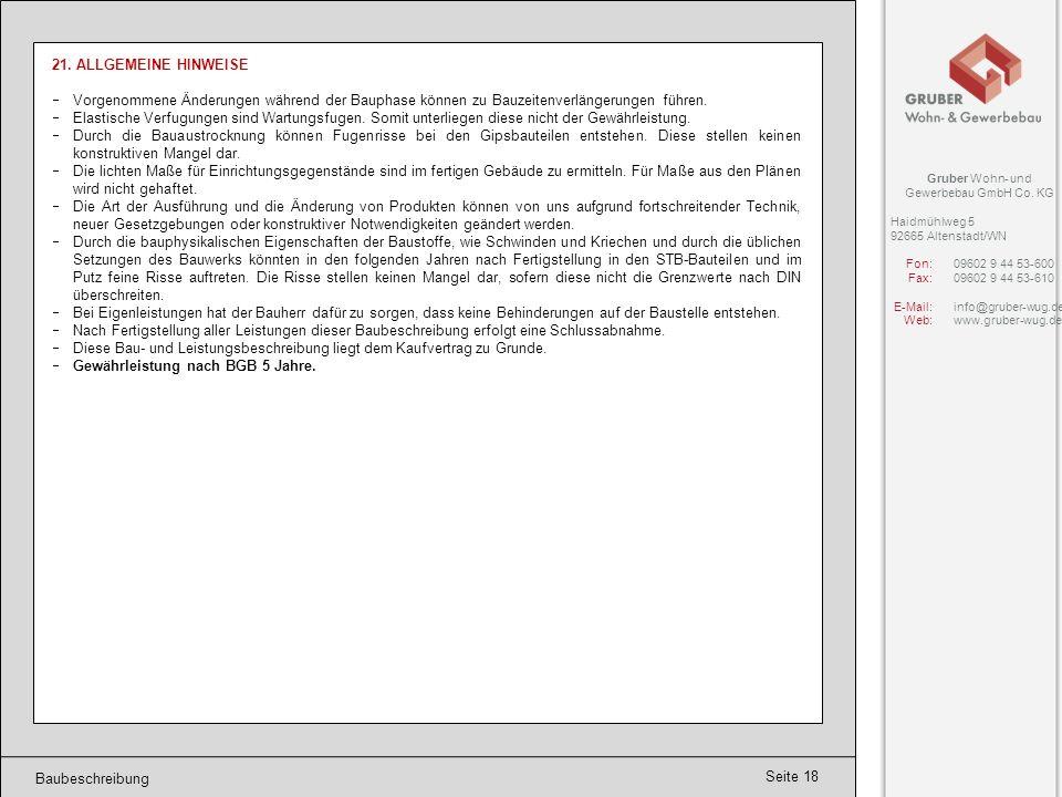 Seite 19 Angebot Angebot: Gruber Wohn- und Gewerbebau GmbH Co.