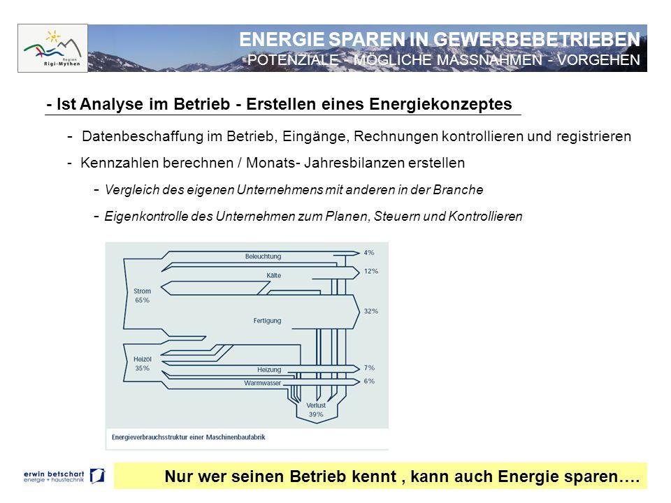 - Ist Analyse im Betrieb - Erstellen eines Energiekonzeptes - Datenbeschaffung im Betrieb, Eingänge, Rechnungen kontrollieren und registrieren - Kennz