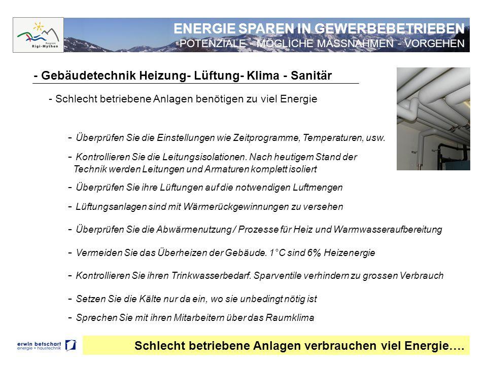 - Gebäudetechnik Heizung- Lüftung- Klima - Sanitär Schlecht betriebene Anlagen verbrauchen viel Energie…. - Schlecht betriebene Anlagen benötigen zu v