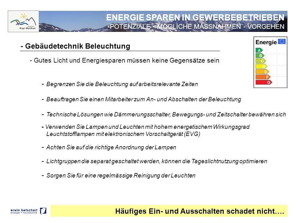 ENERGIE SPAREN IN GEWERBEBETRIEBEN -POTENZIALE - MÖGLICHE MASSNAHMEN - VORGEHEN - Gebäudetechnik IT/EDV Auch ausgeschaltete Geräte verbrauchen oftmals Strom ….