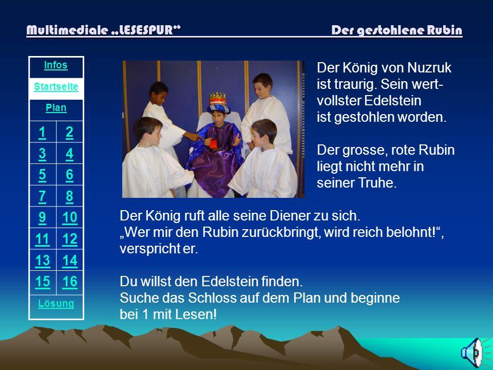 Multimediale LESESPUR Der gestohlene Rubin Infos Startseite Plan 12 34 56 78 910 1112 1314 1516 Lösung Der König von Nuzruk ist traurig.