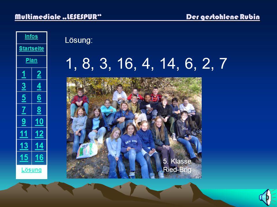 Multimediale LESESPUR Der gestohlene Rubin Infos Startseite Plan 12 34 56 78 910 1112 1314 1516 Lösung Plötzlich entdeckst du neben dem Stein ein weit