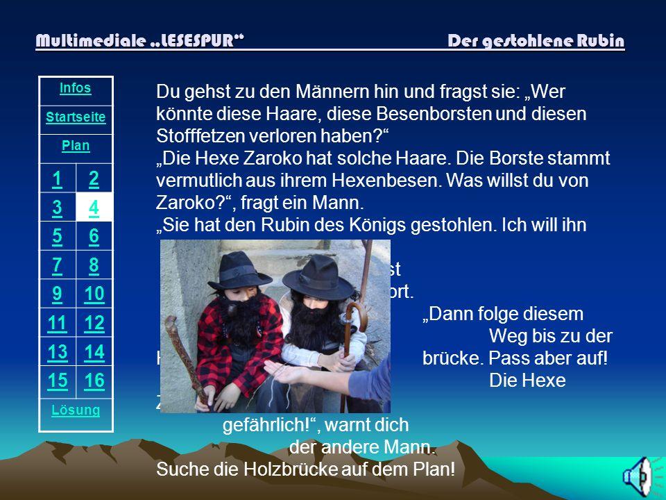 Multimediale LESESPUR Der gestohlene Rubin Infos Startseite Plan 12 34 56 78 910 1112 1314 1516 Lösung Du stehst mitten auf der Brücke.