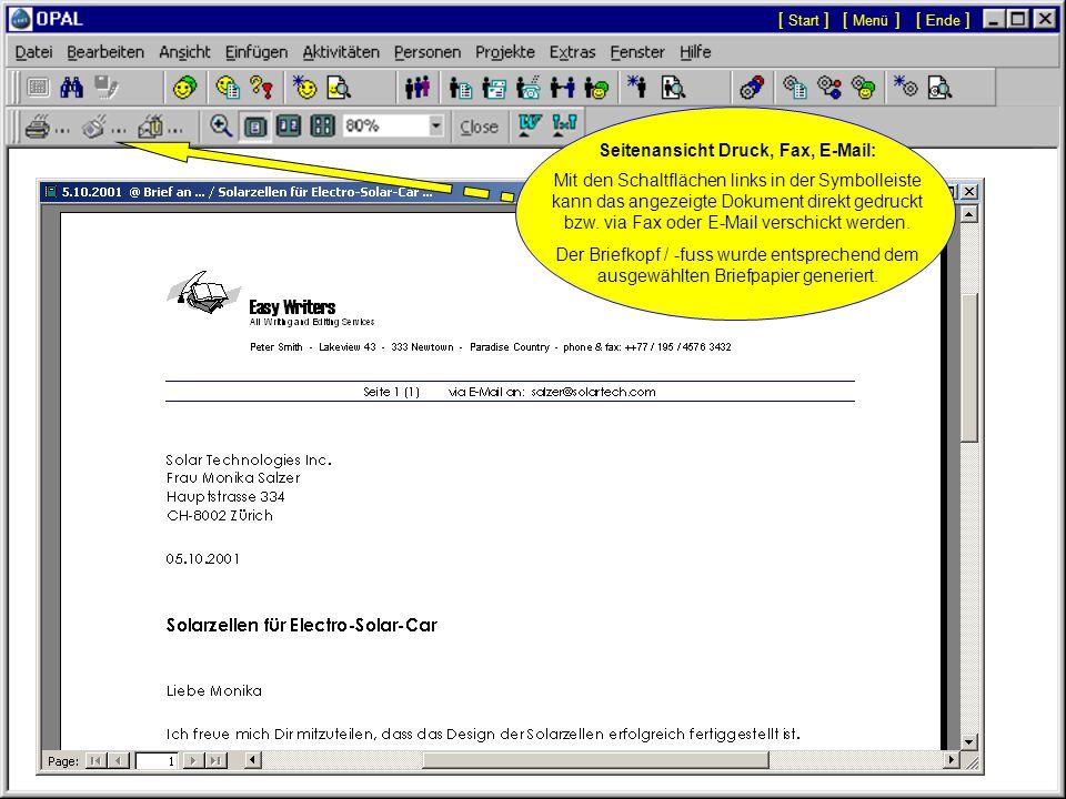 Doppelklick auf Aktivität mit OPAL-Dokument: Das Menü 'Seitenansicht (Druck, Fax, E-Mail)' wird angezeigt, um das Dokument zu öffnen oder zu drucken.