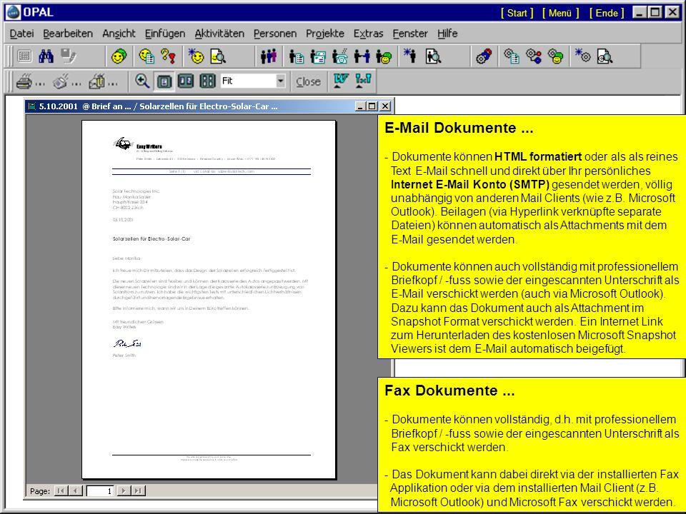 [ Menü ][ Start ][ Ende ] Seitenansicht Druck, Fax, E-Mail: Mit den Schaltflächen links in der Symbolleiste kann das angezeigte Dokument direkt gedruc