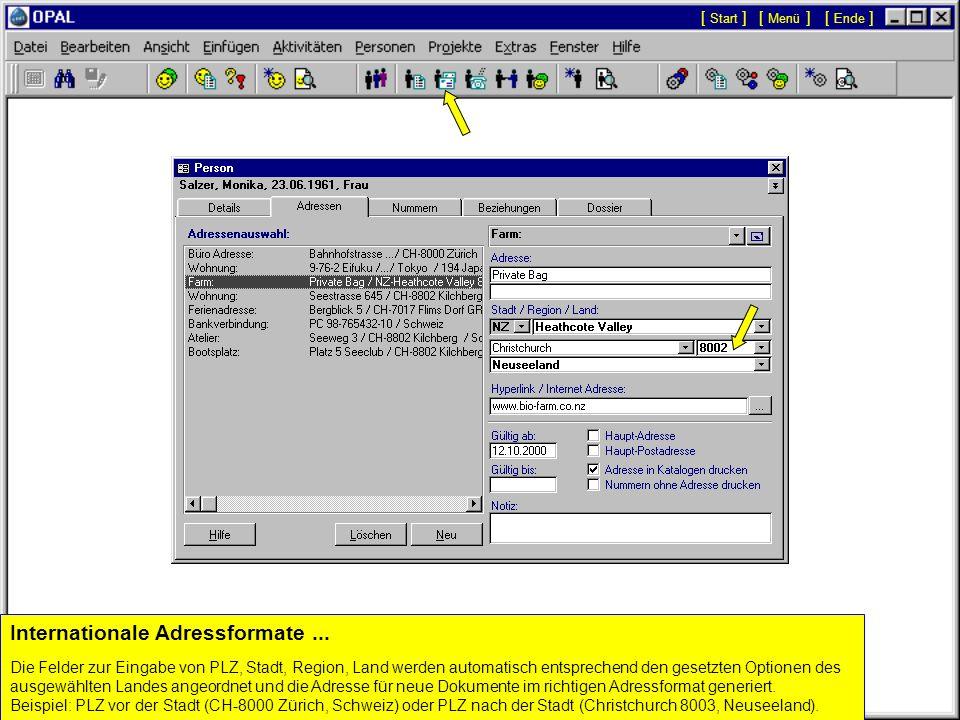 Integration der Personen Details mit Aktivitäten (Dokumenten)... Die Namen, Post Zusatz, Briefanrede, etc. werden automatisch in neue Dokumente überno