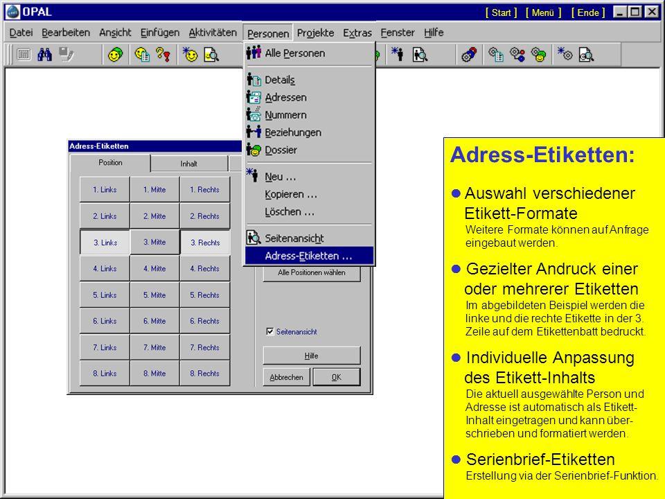 Dossier einer Person Aktivitäten und Dokumente... Auf der Seite Dossier