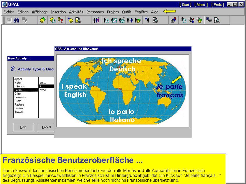 Englische Benutzeroberfläche... Durch Auswahl der englischen Benutzeroberfläche mit einem Klick auf