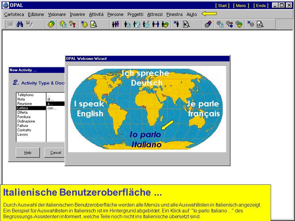 Französische Benutzeroberfläche... Durch Auswahl der französischen Benutzeroberfläche werden alle Menüs und alle Auswahllisten in Französisch angezeig