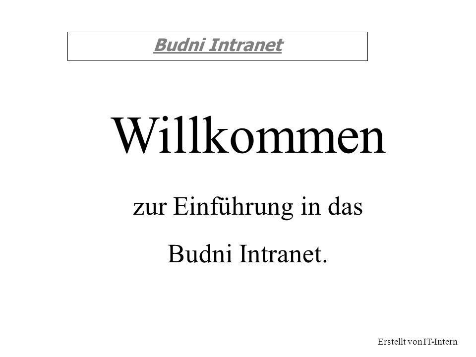Budni Intranet zur Einführung in das Budni Intranet. Willkommen Erstellt von IT-Intern