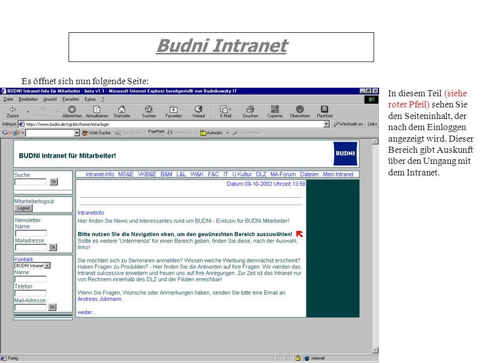 Budni Intranet Es öffnet sich nun folgende Seite: In diesem Teil (siehe roter Pfeil) sehen Sie den Seiteninhalt, der nach dem Einloggen angezeigt wird