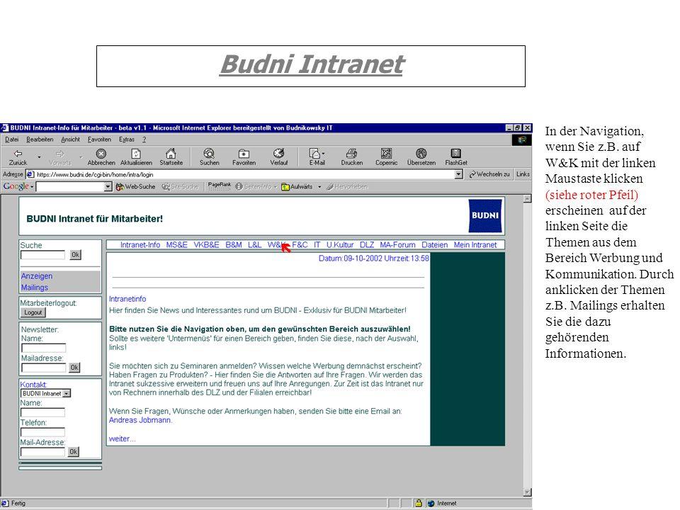 Budni Intranet In der Navigation, wenn Sie z.B. auf W&K mit der linken Maustaste klicken (siehe roter Pfeil) erscheinen auf der linken Seite die Theme