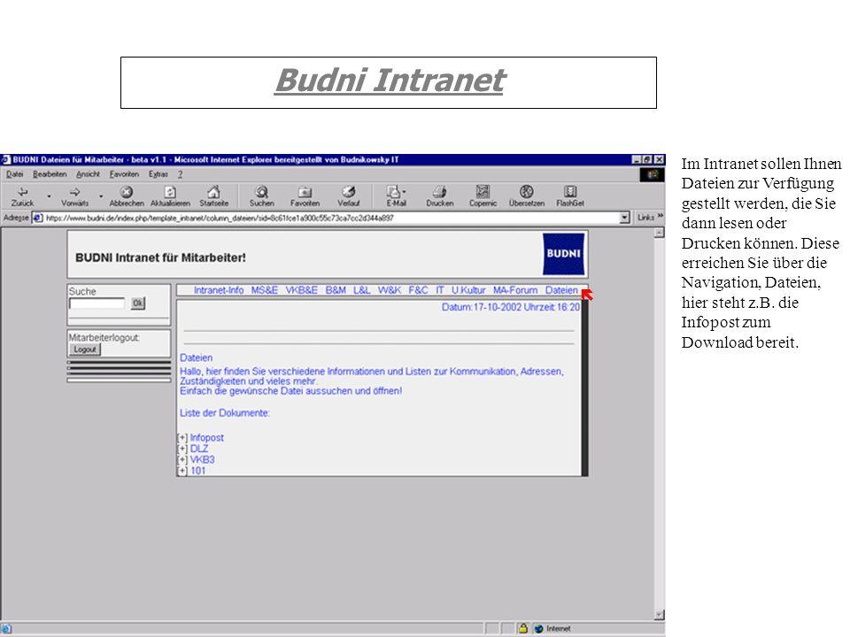 Budni Intranet Im Intranet sollen Ihnen Dateien zur Verfügung gestellt werden, die Sie dann lesen oder Drucken können. Diese erreichen Sie über die Na