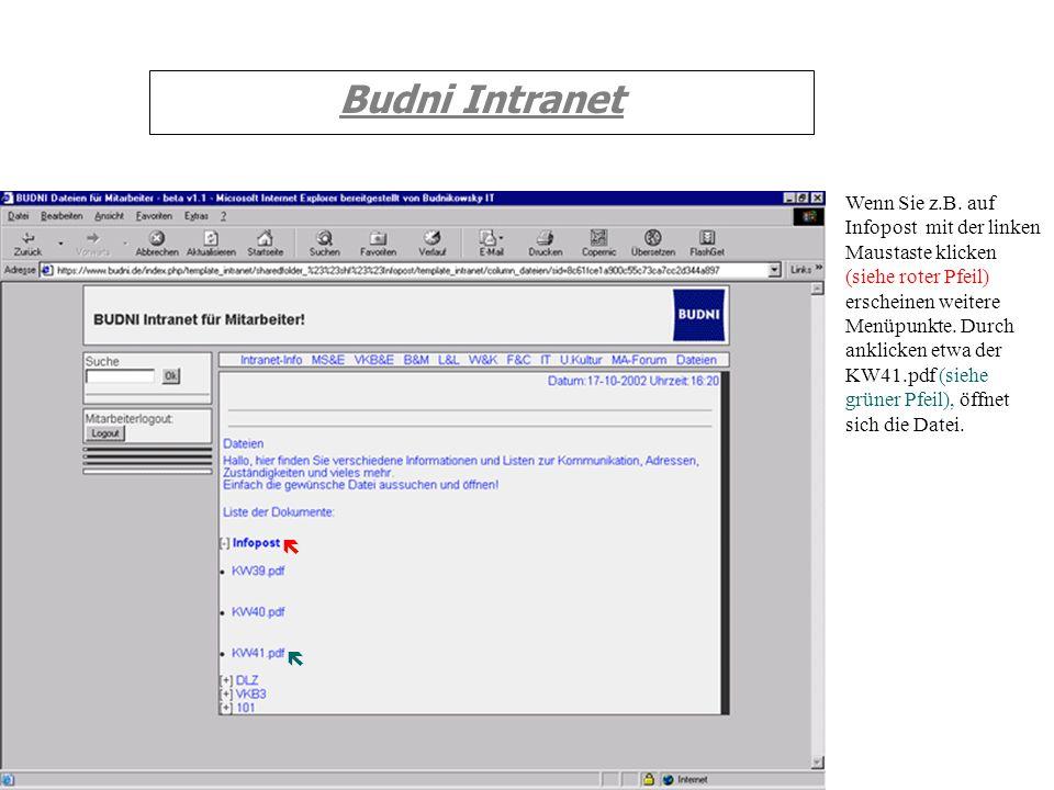 Budni Intranet Wenn Sie z.B. auf Infopost mit der linken Maustaste klicken (siehe roter Pfeil) erscheinen weitere Menüpunkte. Durch anklicken etwa der
