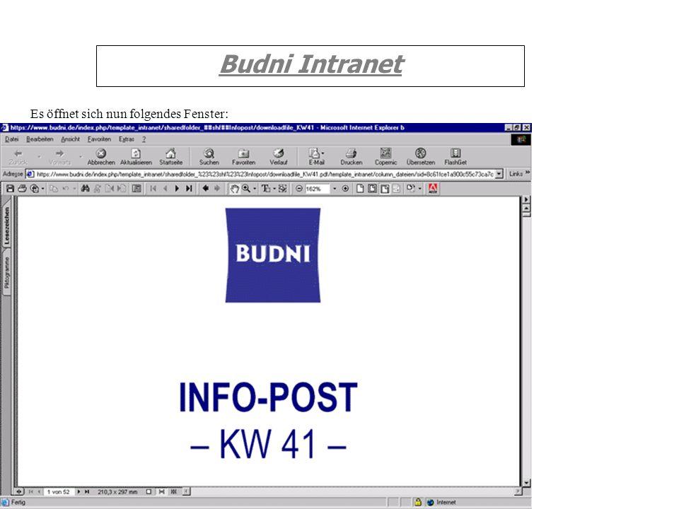 Budni Intranet Es öffnet sich nun folgendes Fenster: