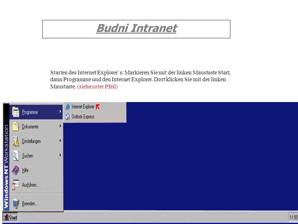 Budni Intranet Starten des Internet Explorer`s: Markieren Sie mit der linken Maustaste Start, dann Programme und den Internet Explorer. Dort klicken S