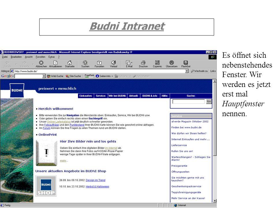 Budni Intranet Es öffnet sich nebenstehendes Fenster. Wir werden es jetzt erst mal Hauptfenster nennen.